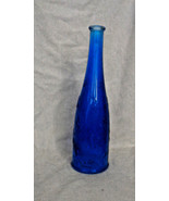 "Tall Blue Bottle Clear 11 1/2"" Embossed Flowers Ikea Made in Poland Coba... - $10.45"
