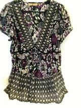 Women's 1X Purple Green Black Floral Geometric NOTATIONS Shirt Sheer V Neck - $21.77