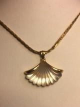 Vintage Avon Glass Shell Pendant Necklace Goldtone Fan Chain - $21.22