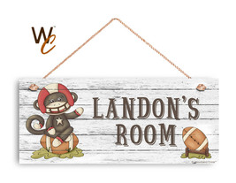 """Football Sign, Personalized 6""""x14"""" Sign, Kid's Room, Nursery, Monkey Sign - $26.68"""