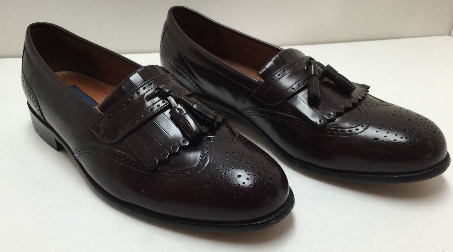 Vintage Mens 7 Bostonian Classics Burgundy Leather Slipons Tassel Loafers Medallion Toe Dress Shoes Oxfords Frill Fringe Wedding Suit Shoes