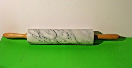 """Vintage Marble Rolling Pin White Gray 10"""" Roller 18"""" With Handles - $18.76"""