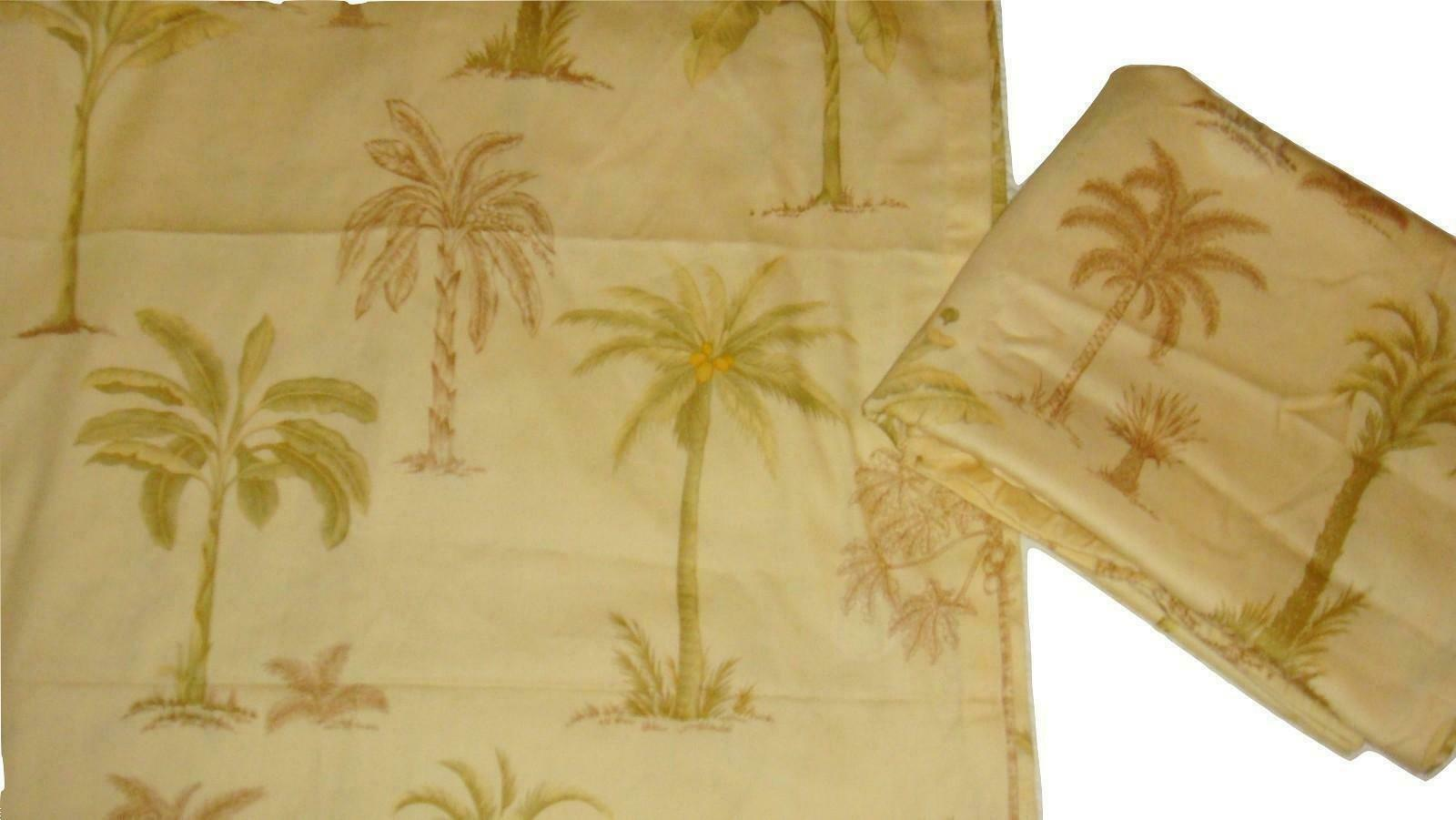 "Primary image for Waverly Palm Tree 4 Drapery Panels 52"" X 82"" Each Yellow Green Brown EUC"