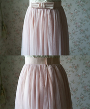PINK Long Tulle Skirt Pink Bridesmaid Tulle Skirt Outfit Bow-knot image 9