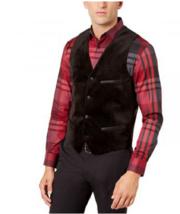 Alfani Deep Black Mens Button Down Velvet Vest, Size 3XLT - $97.01