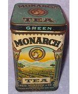 Vintage Monarch Green Tea Tin 8 Oz Hinged Lid w... - $24.95