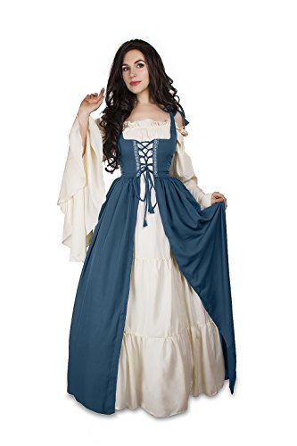 Renaissance Medieval Irish Costume Over Dress & Cream Chemise Set (L/XL, Teal)
