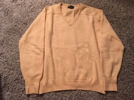 Vintage Mens Lands End Lambswool Yellow Neck Sweater, Size L 42-44 - $36.99