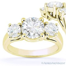Round Cut Forever Brilliant Moissanite 14k Yellow Gold 3-Stone Engagemen... - £704.19 GBP+