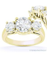 Round Cut Forever Brilliant Moissanite 14k Yellow Gold 3-Stone Engagemen... - €771,20 EUR+
