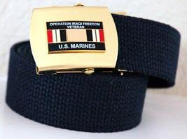 USMC OIF Ribbon Emblem Black Belt & Buckle  - $14.99