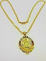 18 k Gold Plated Crystal Diamond Virgin Mary Prayer Necklace w/ 3 Stones - $12.86