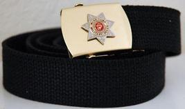 USMC MP Military Police Black Belt & Brass Buckle  - $14.99