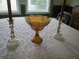 Large Amber Marigold Carnival Glass Centerpiece Fruit Pedestal Bowl - $18.32