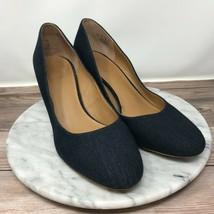 Franco Sarto Optimum Blue Denim Slip On Stacked Block Pumps Womens Size 9 - $39.95