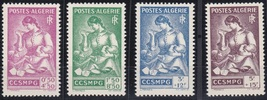 1943 Mother and Children Set of 4 French Algeria Stamps Catalog B39-42 MNH