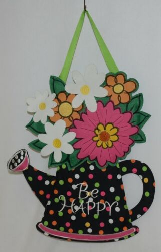 FabriCreations 2375 Be Happy Fabric Hanging Watering Can With Flower Bouquet