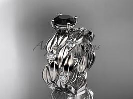 Leaf engagement ring set, 14kt white gold diamond wedding set with a Bla... - $1,920.00