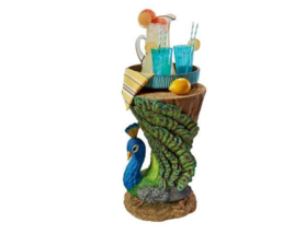 OUTDOOR PEACOCK BIRD TREE TRUNK LOG TABLE Art Library Den Bar Cocktail Side End image 6