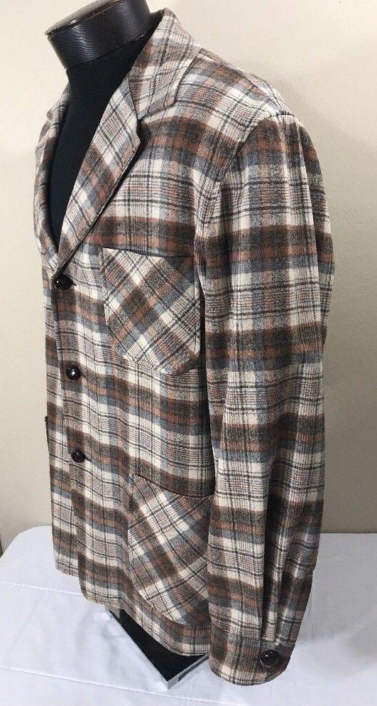 023cf842 VTG PENDLETON Flannel Shirt Shadow Plaid Large Virgin Wool Smoking Jacket  Coat