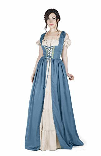 Boho Set Medieval Irish Costume Chemise and Over Dress (L/XL, French Blue)