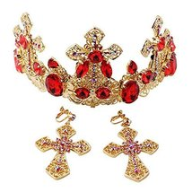 Elegant Western Style Retro Gold Plated Wedding Head Crown with Ear Ring Set