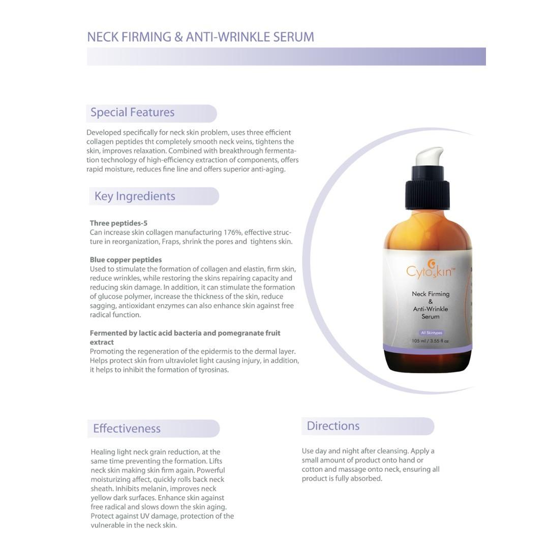 CytoSkin Neck Firming & Anti-Wrinkle Serum for Neck Skin, 105ml + Free Sample