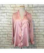 VIctoria's Secret Women's Pink Striped Silky Button Front Sleep Shirt Sz... - $15.29