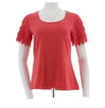 Liz Claiborne Fashionable Scoop Neck Lace Short Slv T-shirt Coral M NEW ... - $23.74