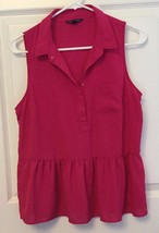Silky Sleeveless Summer Blouse Top American Eagle Collar Raspberry Pink ... - $12.82