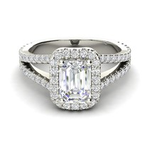 1.76Ct Emerald Gorgeous Diamond Unique Halo Engagement Ring 14K Real Whi... - $325.91