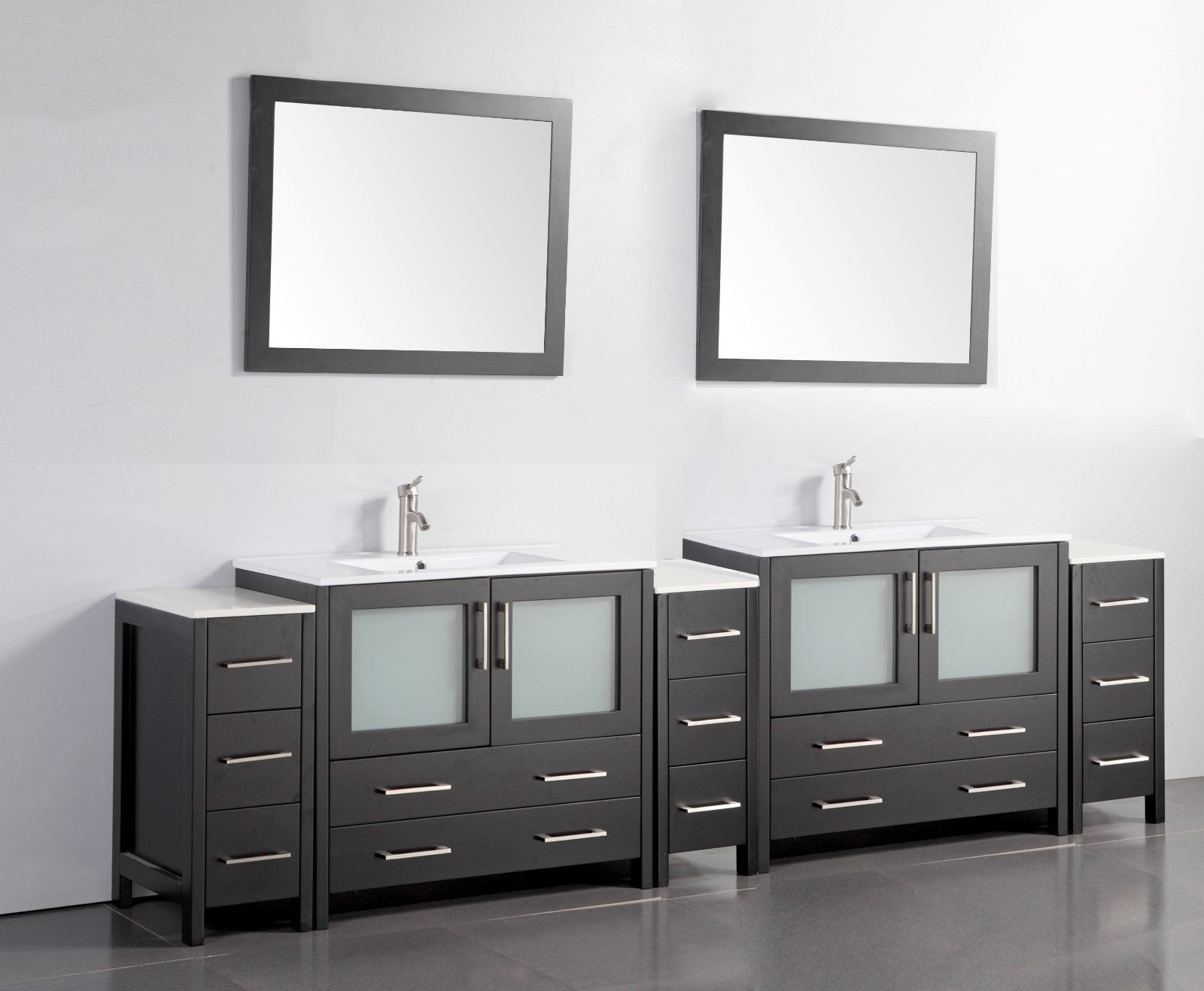 Vanity Art 108 Inch Double Sink Bathroom Vanity Set W Ceramic Top Va3036 108 Vanities