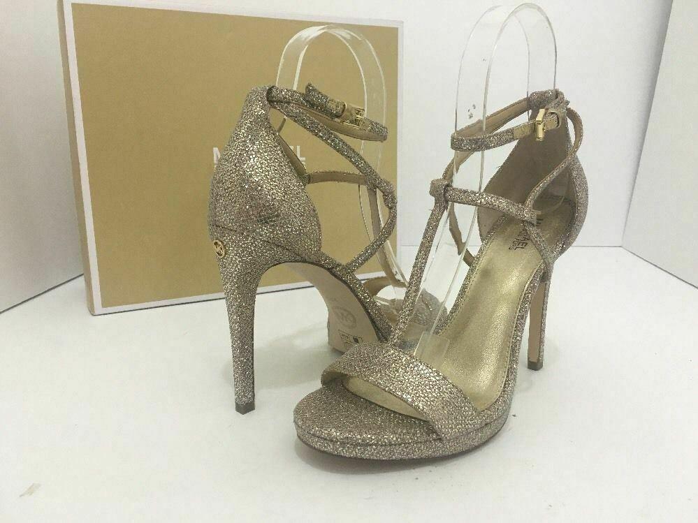 Michael Kors Simone Women Evening Platform High Heels Sandals 6.5 Silver Glitter image 2