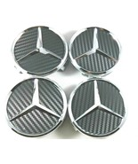 4pc Mercedes Benz Center Caps Carbon FIBER BLACK 3 Inch/75mm Fit Model C... - $18.79