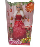 Barbie Holiday Wishes Doll In Red Gown with Fur and Sparkling Necklace 2... - $29.95