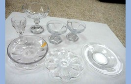 Lot Vintage 7pc Heisey Glass Dishes Dessert Cups Candy Saucer Plates Bowl Clear - $87.95