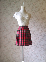 RED Pleated PLAID SKIRT Campus Style Red Plaid Pleat Skirt Red Check Mini Skirt image 5