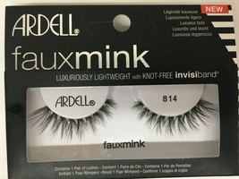 1 Pair Ardell Eyelashes Faux Mink 814 Black Fake Lashes Knot Free And Adhesive - $9.89
