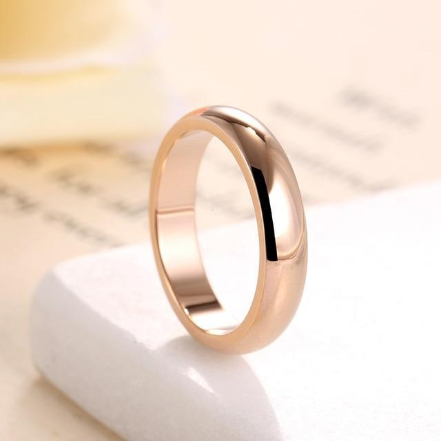 KNOCK  High quality 4mm Wholesale Simple Ring Fashion Rose Gold Ring Men's and W