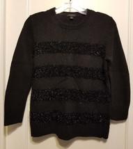 Ann Taylor Black Sparkle Metallic Stripe Sweater Wool Blend Size M, Pre-owned - $34.57