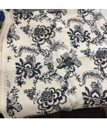 shine by delano house linen fabric by the yard navy off white floral print - $61.38