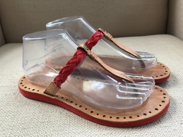 Ugg Bria CHESTNUT/RED (Coral) Leather Flip Flop Sandal Size 7 - $18.49