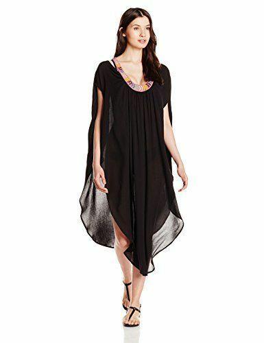 $348 MARA HOFFMAN ANTHROPOLOGIE BEADED BLACK LONG CAFTAN DRESS SIZE XS/S image 3