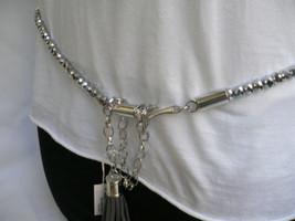 New Women Belt Waist Hip Pewter Crystals Thin Metal  S L Rhinestone West... - $13.71