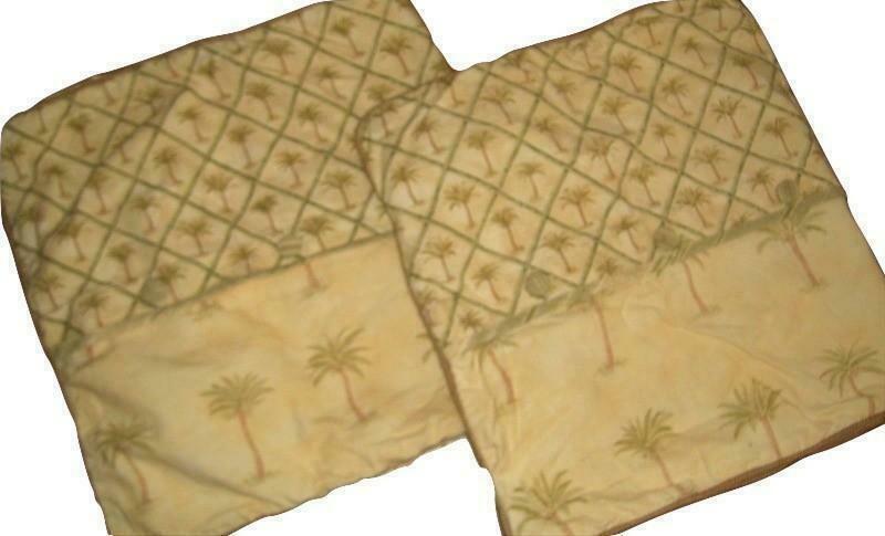 Waverly Tahiti Set of 2 King Pillow Shams Yellow & Green Palm Trees Rare Euc - $39.57