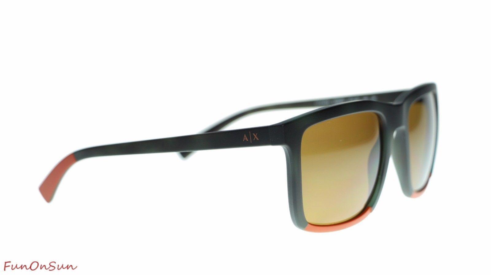 Armani Exchange Sunglasses AX4067 822883 Matte Havana Orange/Polar Brown Lens 55