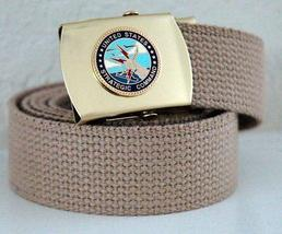 USAF Strategic Command Emblem Khaki Belt & Buckle  - $14.99