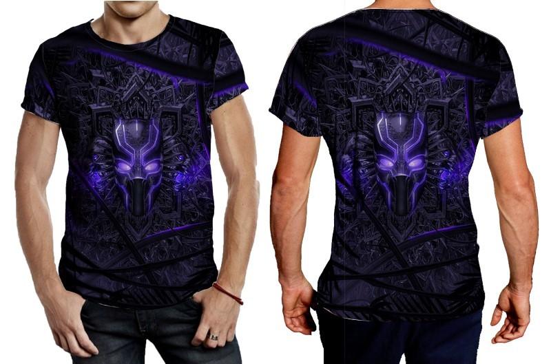 Black panther purple neon tee men