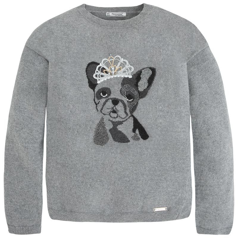 Mayoral Tween Girls Angora Blend Crown Bull Dog Intarsia Knit Sweater