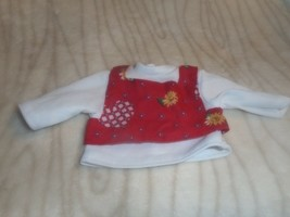 LAYERED FLOWER COTTON AND WHITE KNIT TOP SMALL DOLL SIZE - $4.99